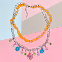 Load image into Gallery viewer, Peachy Cream Double Charm Necklace (orange/silver)