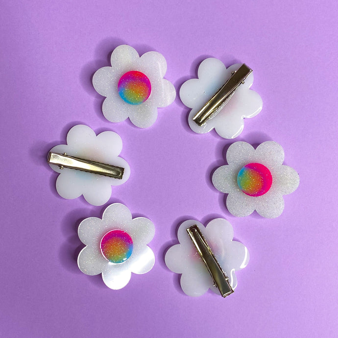 Rainbow Flower Hair Clip Set