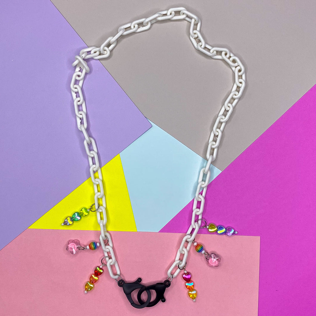 Rainbow Hearts Mask Chain