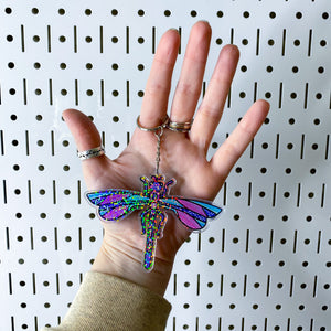 Acrylic Holographic Dragonfly Keychain