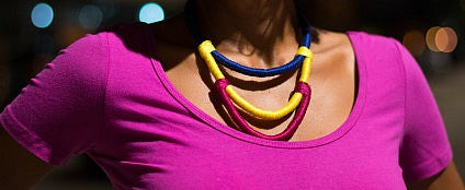 Colorblock Rope Necklace - Luni