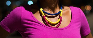 Triple Layered Colorblock Rope Necklace - Luni