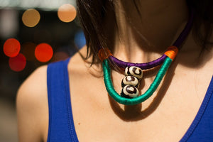 Batik Bone Colorblock Rope Necklace - Luni