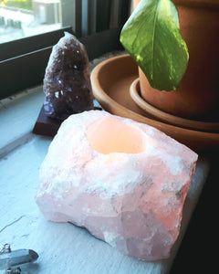 Rose Quartz Tea Light Holder - Luni