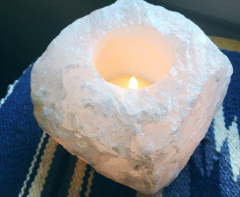 Clear Quartz Candle Holder
