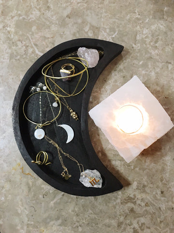 Crescent Moon Tray and Crystal Set