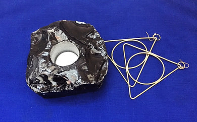 Obsidian Tea Light Candle Holder - Luni