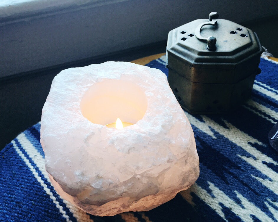 Clear Quartz Tea Light Candle Holder
