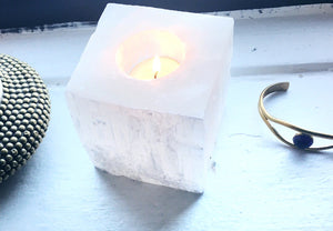Selenite Tea Light Candle Holder - Luni