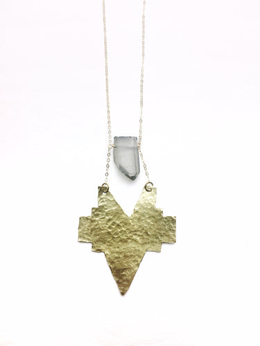 Hammered Wild Heart Necklace - Luni