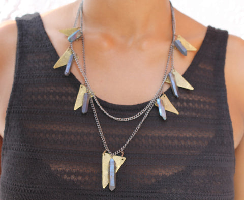 Triangle Aura Quartz Necklace