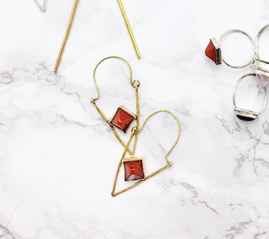 Carnelian Triangle Earrings - Luni