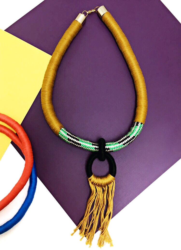 Keyhole Rope Fringe Necklace