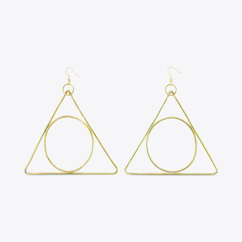 Alchemy Brass Triangle Earrings