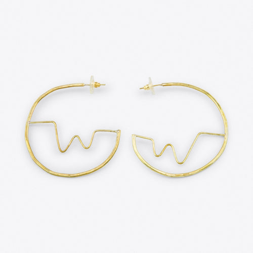 Soundwave Brass Hoops - Luni