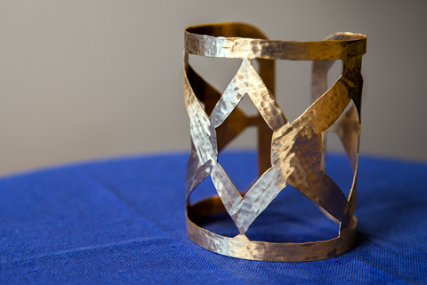 Diamond Cut Brass Cuff
