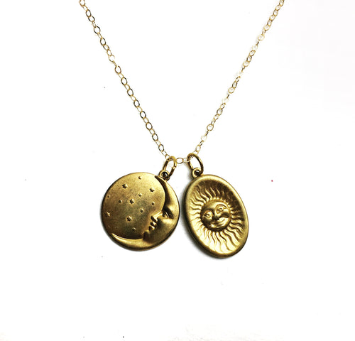The Sun and the Moon Charm Necklace - Luni