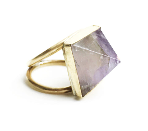Pyramid Double Band Ring