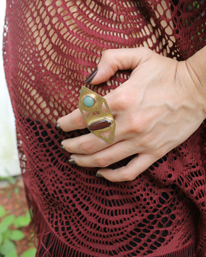 Hexagon Middle Finger Ring - Luni