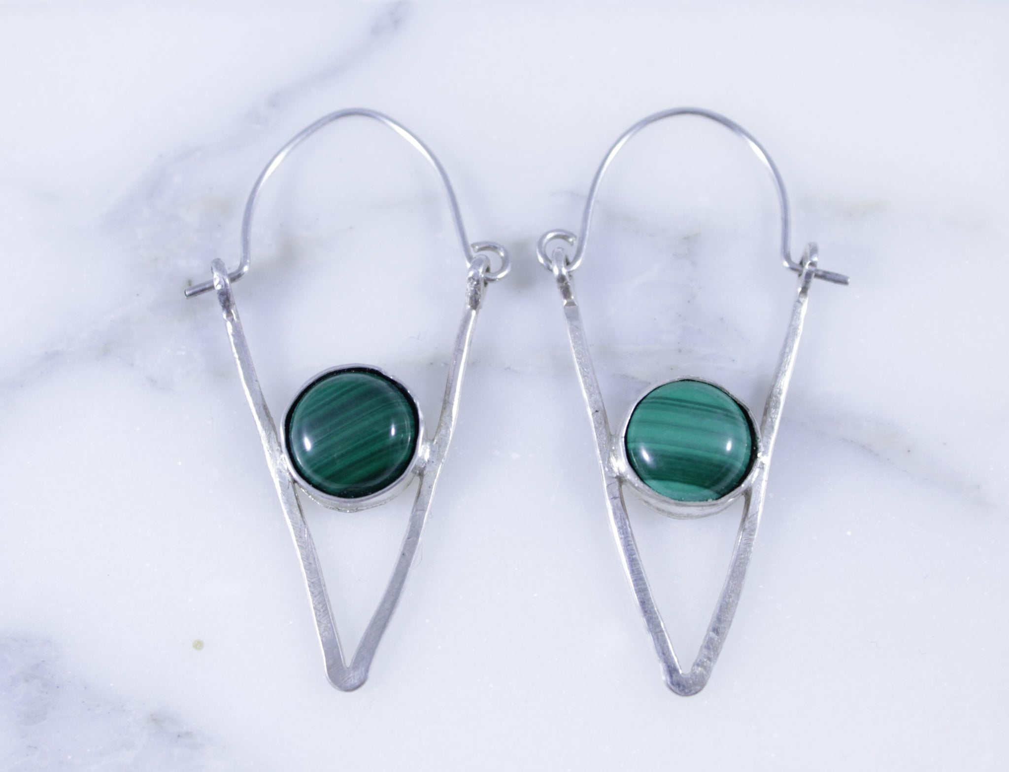 Malachite Triangle Earrings