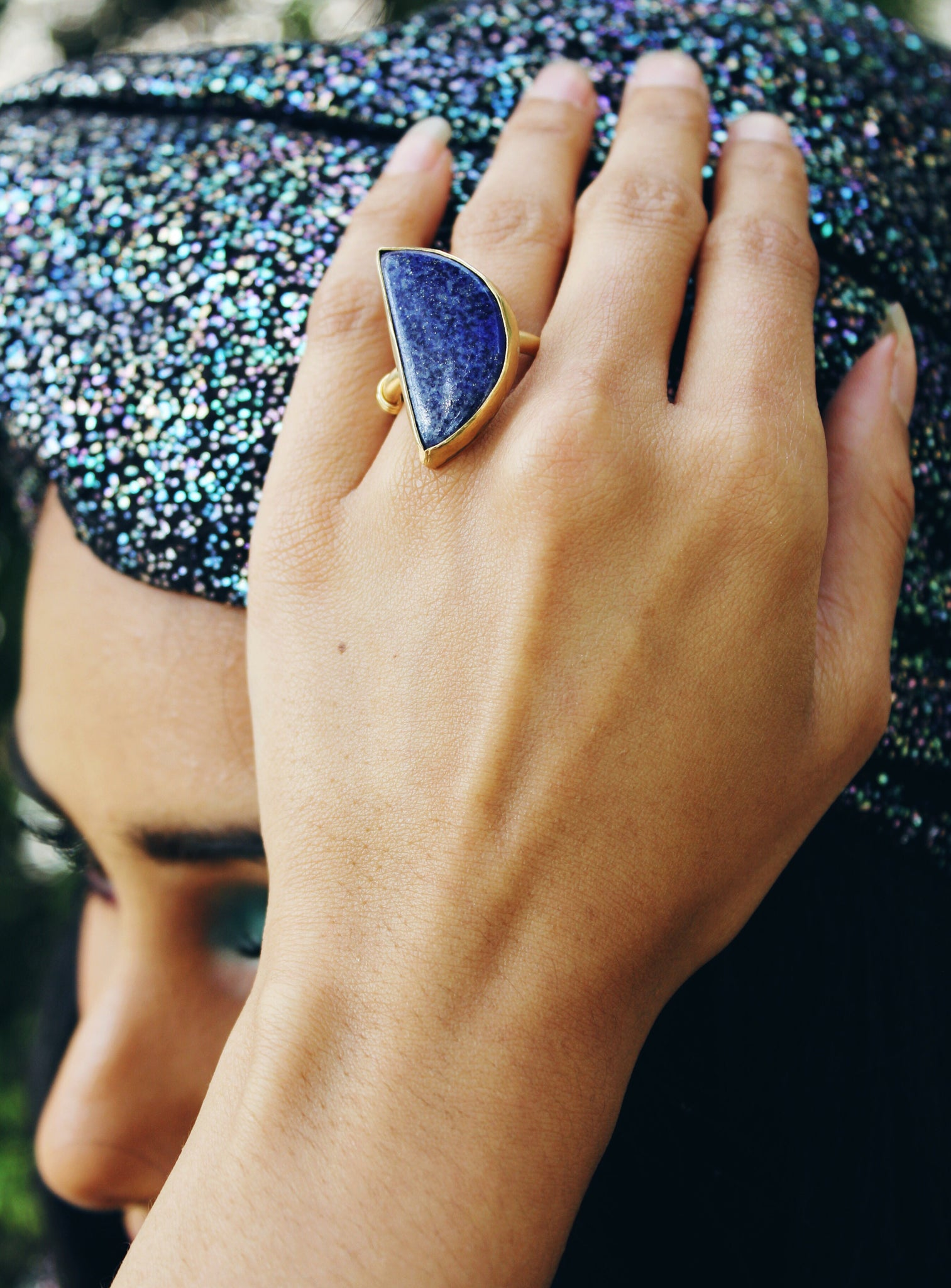 Lapis Moon Ring