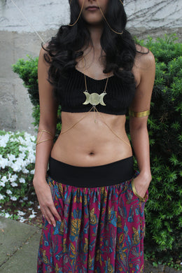 Triple Moon Goddess Body Chain - Luni
