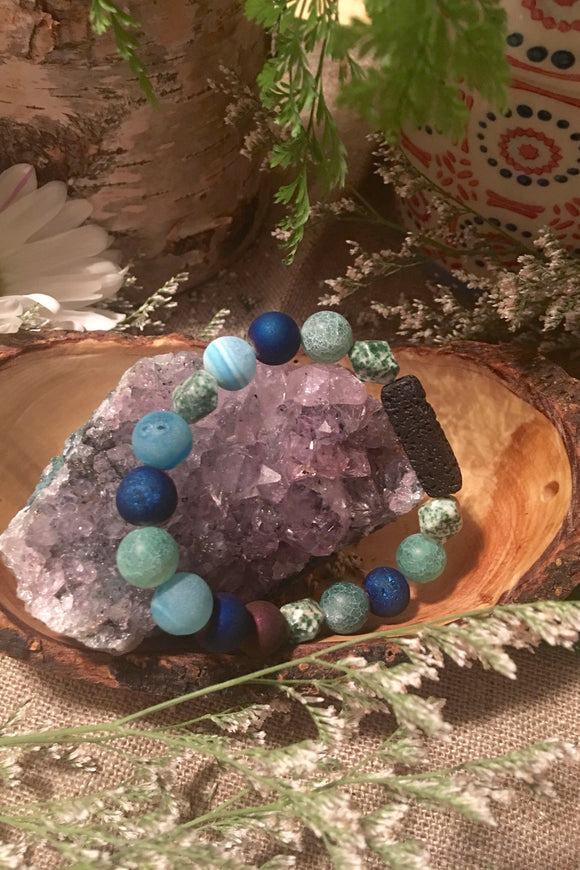 Blue and Green Lava Stone Bracelet