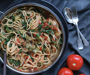 Tomato and Smoked Olive Pasta with Garlicky Greens