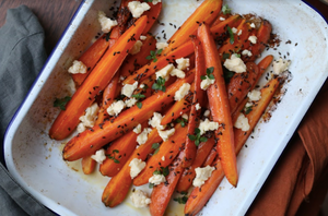 Honey Roasted Carrots with Feta, Thyme, and Linseeds