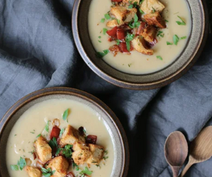Cauliflower and Potato Soup with Rosemary Croutons and Crispy Bacon