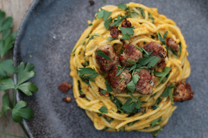 Spaghetti in Roasted Cauliflower Sauce with Pork Meatballs.
