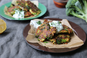 Food Connect Cheesy Broccoli Fritters with Herbed Yoghurt Sauce