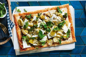 Leek, feta cheese, walnut & lemon tart