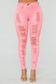 Brighten My Day Distressed Jeans - Pink