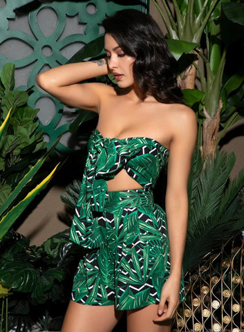 Green Geometric Pattern Bandage Two-Pieces