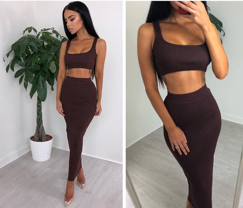Ribbed Crop Top And Skirt Set Matching Sets