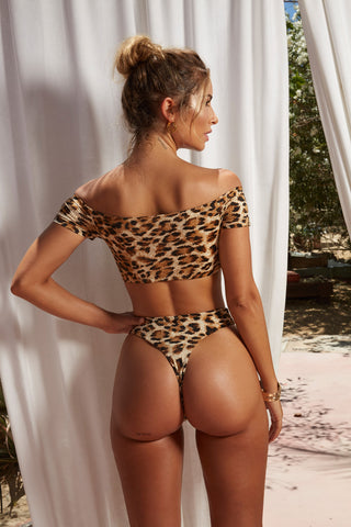 Off Shoulder Leopard Two Piece Set