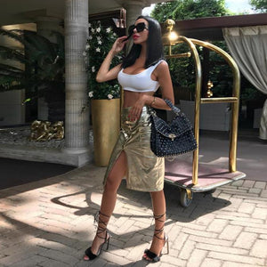 Gold Knee Long Leather Skirt