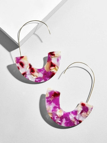 Fashion Leopard Earrings Semicircle Resin