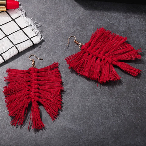 Leaf Shaped Fringes Earrings