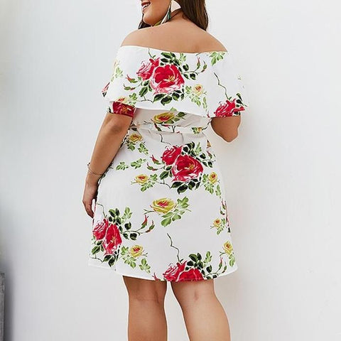 Image of Sexy Floral Off Shoulder Beach Dress
