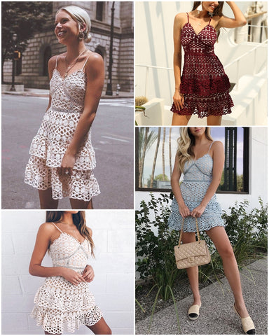 Image of Vintage Sexy v-neck Cotton Lace Dress
