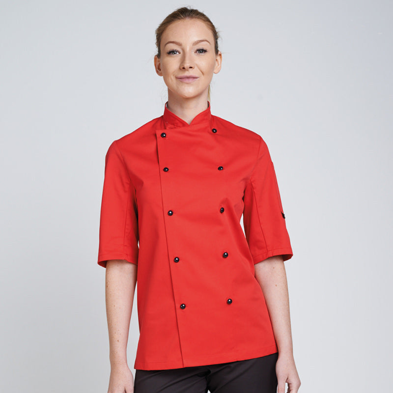 DENNYS CHEFS JACKET STUD BUTTON TECHNICOLOUR SHORT SLEEVE DD56S