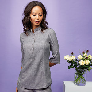 VERBENA LINEN LOOK BUTTON-UP BEAUTY TUNIC