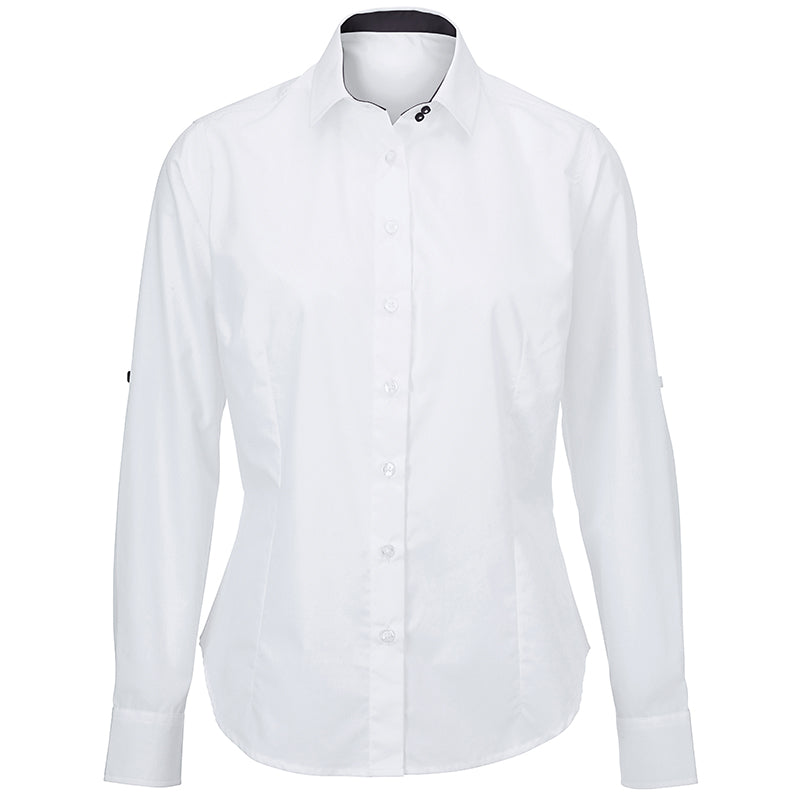 WOMENS WHITE ROLL-UP SLEEVE SHIRT NF521W