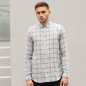 BRUSHED CHECK CASUAL SHIRT WITH BUTTON-DOWN COLLAR