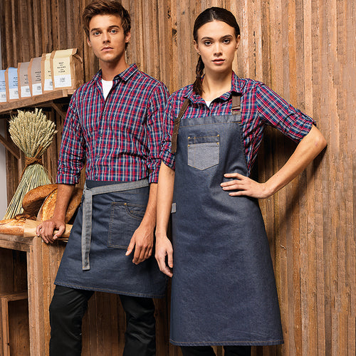 DIVISION WAXED-LOOK DENIM BIB APRON WITH FAUX LEATHER