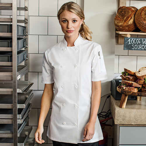 WOMENS SHORT SLEEVE CHEFS JACKET