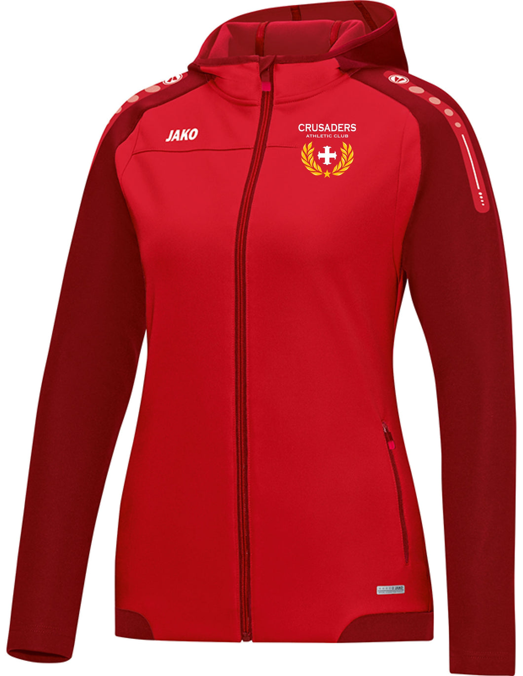 WOMENS JAKO CRUSADERS AC HOODY WITH CREST CAC6817CW RED WITH CREST