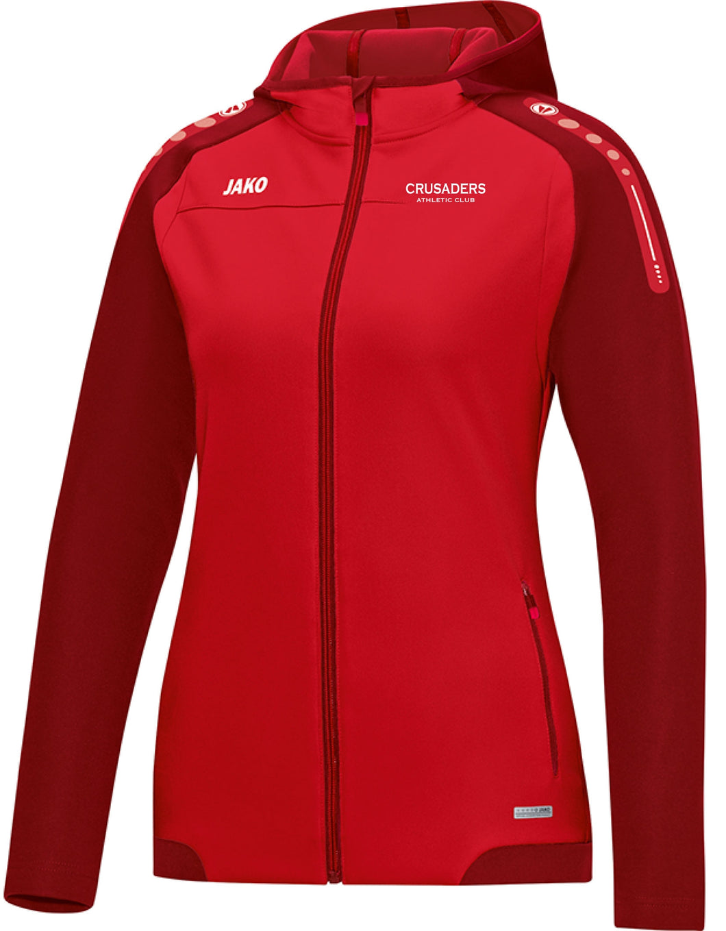 WOMENS JAKO CRUSADERS AC HOODY WITH TEXT CAC6817TW RED WITH TEXT